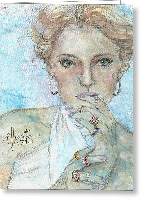 Face Of A Woman Greeting Cards - Rings Greeting Card by P J Lewis