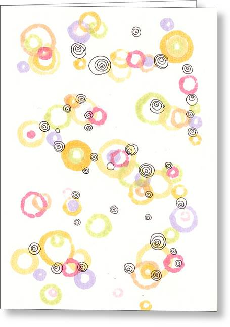 Disk Drawings Greeting Cards - Rings Greeting Card by Regina Valluzzi