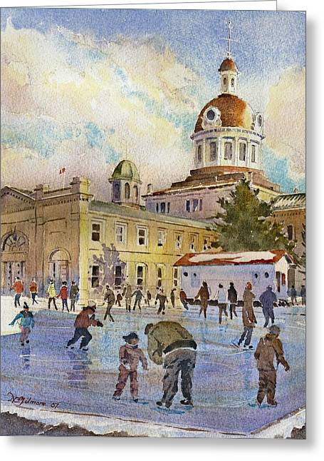 Kingston City Hall Greeting Cards - Rink at Kingston Market Square Greeting Card by David Gilmore