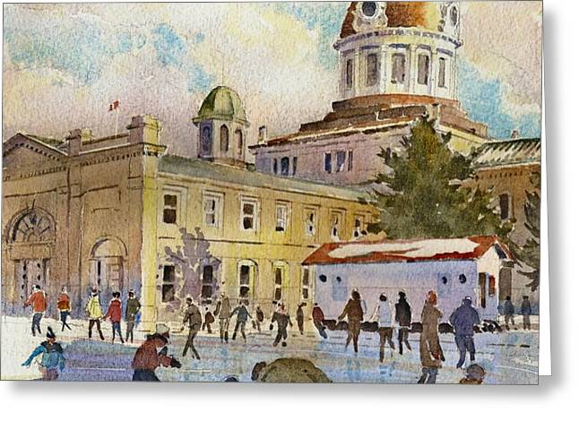 Rink at Kingston Market Square Greeting Card by David Gilmore