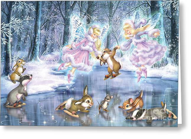 Dreamy Landscape Greeting Cards - Rink in the Forest Greeting Card by Zorina Baldescu