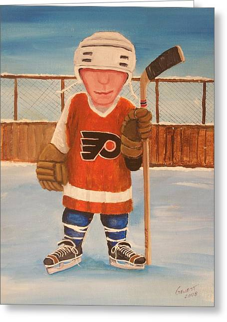 Nhl Winter Classic Greeting Cards - Rinkrattz - Bruiser Flyers Greeting Card by Ron  Genest