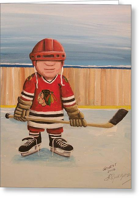 Youth Hockey Paintings Greeting Cards - Rinkrattz- Chicago  Greeting Card by Ron  Genest