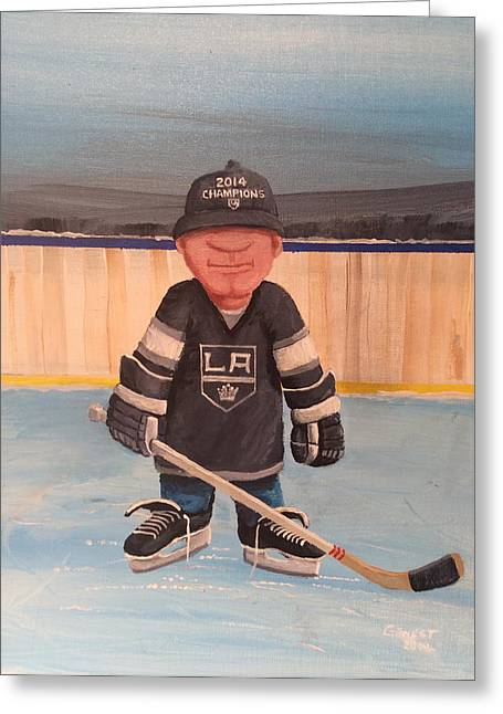 Youth Hockey Paintings Greeting Cards - RinkRattz - LA KINGS Greeting Card by Ron  Genest