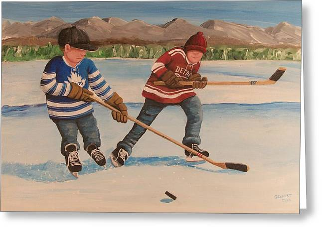 Youth Hockey Paintings Greeting Cards - Rinkrattz - Winter Classic 2014 Greeting Card by Ron  Genest