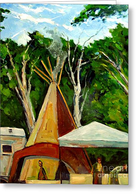 Air Born Greeting Cards - Running Black Bears Tipi Greeting Card by Charlie Spear