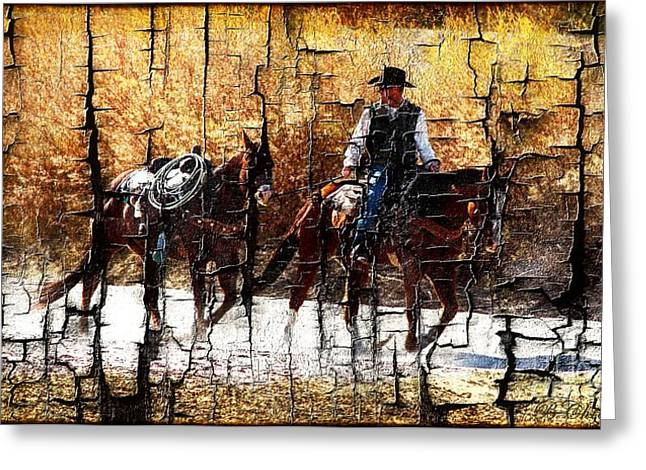 Las Cruces Digital Art Greeting Cards - Rio Cowboy With Horses  Greeting Card by Barbara Chichester