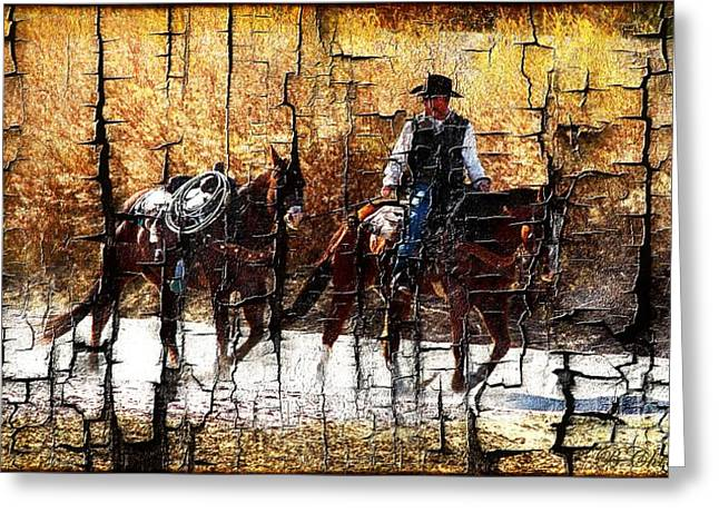 Barbara Chichester Digital Greeting Cards - Rio Cowboy With Horses  Greeting Card by Barbara Chichester
