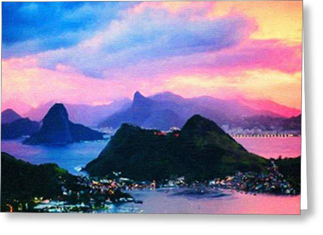 Difficulties Love Greeting Cards - Rio de Janeiro at dusk drawing Greeting Card by MotionAge Designs