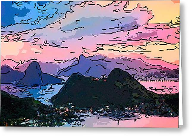 Difficulties Love Greeting Cards - Rio de Janeiro at dusk  pastel art Greeting Card by MotionAge Designs