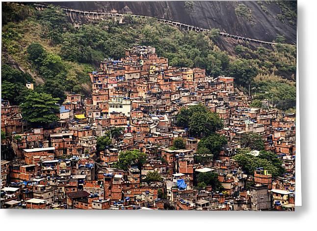 Berghoff Greeting Cards - Rio de Janeiro Brazil - Favela Greeting Card by Jon Berghoff