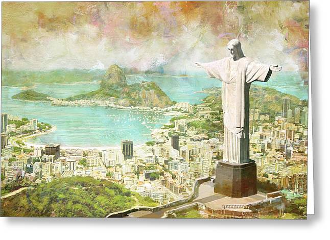 National Paintings Greeting Cards - Rio de Janeiro Greeting Card by Catf