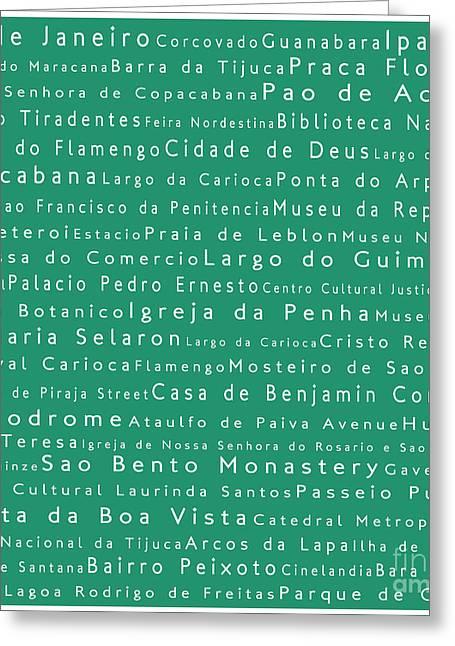 Rio De Janeiro In Words Algae Greeting Card by Sabine Jacobs