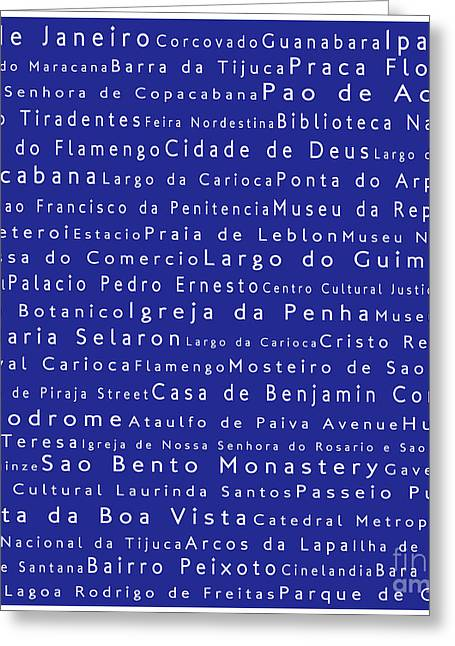 Rio De Janeiro In Words Blue Greeting Card by Sabine Jacobs