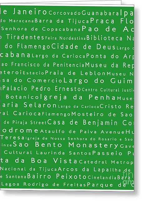 Rio De Janeiro In Words Green Greeting Card by Sabine Jacobs