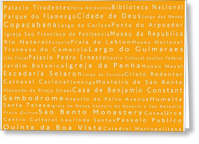 Fussball Greeting Cards - Rio de Janeiro in Words Orange Greeting Card by Sabine Jacobs
