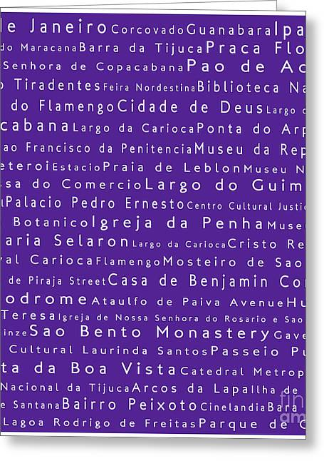 Rio De Janeiro In Words Purple Greeting Card by Sabine Jacobs