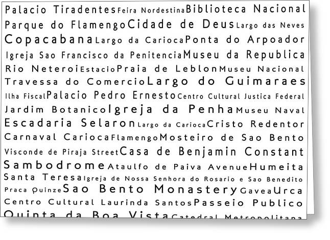 Rio De Janeiro In Words White Greeting Card by Sabine Jacobs
