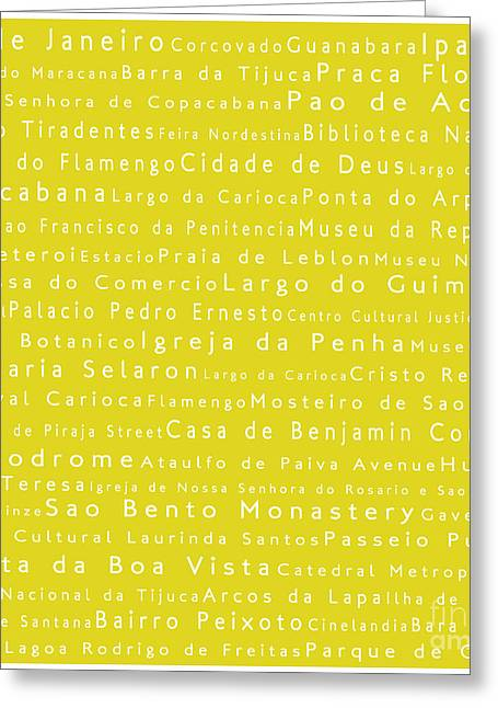 Rio De Janeiro In Words Yellow Greeting Card by Sabine Jacobs