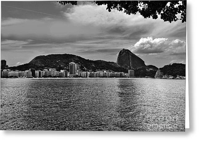 Turismo Greeting Cards - Rio de Janeiro Panoramic of Baia de Guanabara and Sugar Loaf Greeting Card by Carlos Alkmin