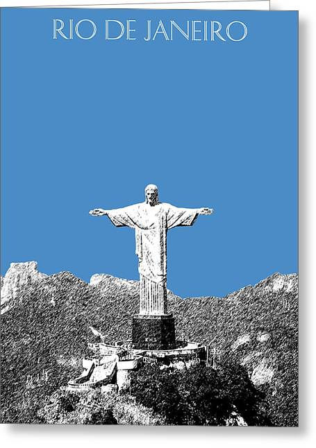 Db Artist Greeting Cards - Rio de Janeiro Skyline Christ the Redeemer - Slate Greeting Card by DB Artist