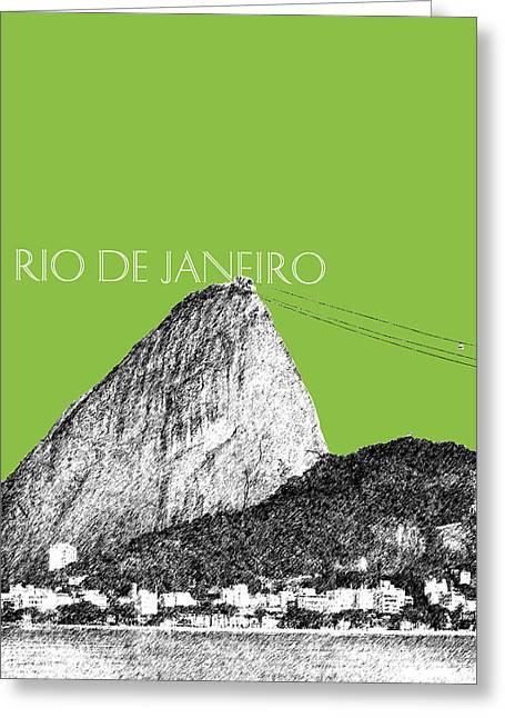 Olive Green Digital Art Greeting Cards - Rio de Janeiro Skyline Sugarloaf Mountain - Olive Greeting Card by DB Artist