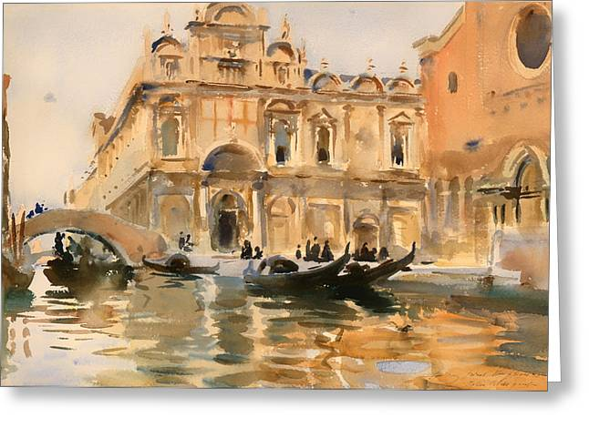 Boats On Water Greeting Cards - Rio dei Mendicanti Greeting Card by John Sargent