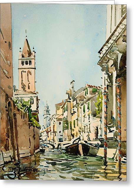 Boats On Water Greeting Cards - Rio di San Barnaba - Venice Greeting Card by Edward Boit