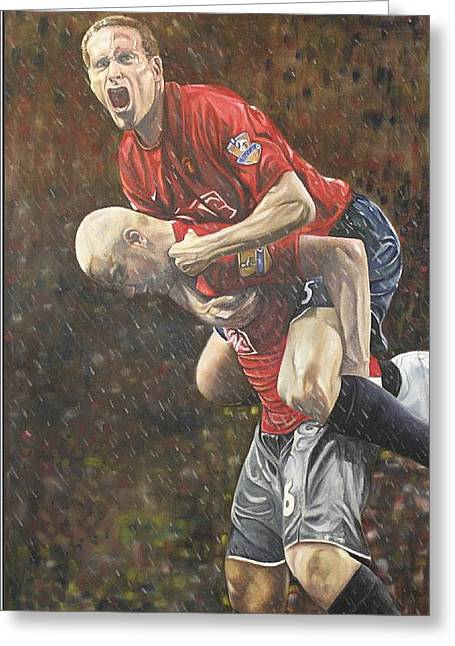 Soccer Framed Prints Greeting Cards - Rio Ferdinand and Wes Brown Greeting Card by Stephen Rea