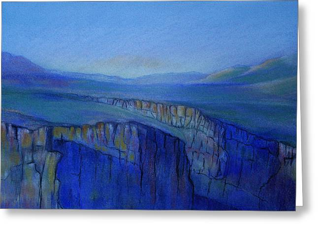 Evening Lights Pastels Greeting Cards - Rio Grand Gorge PM Greeting Card by Linda Harrison-parsons