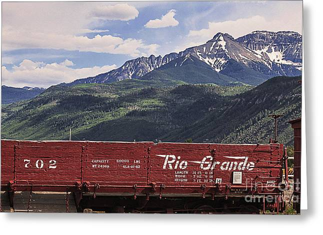 Wooden Train Print Greeting Cards - Rio Grande 702 Greeting Card by Janice Rae Pariza