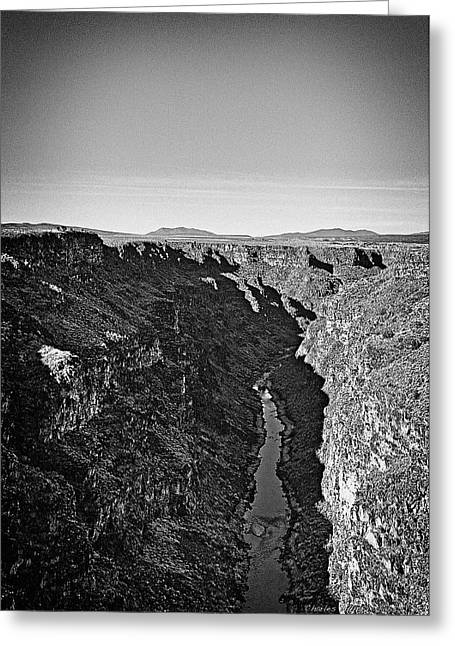 Taos Greeting Cards - Rio Grande gorge in B-W Greeting Card by Charles Muhle