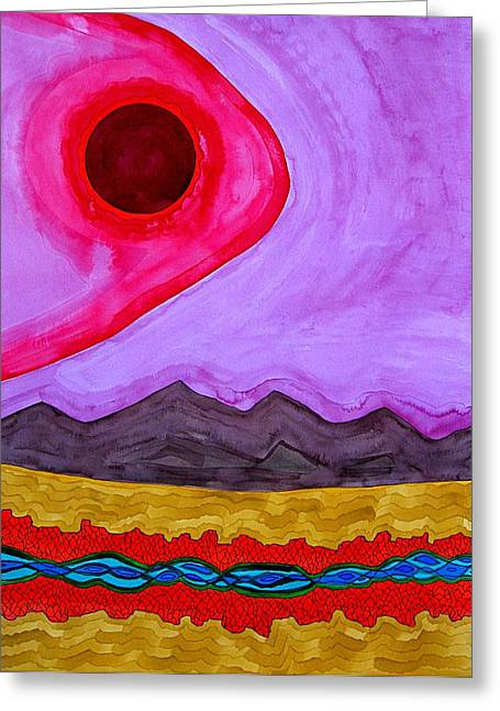 Rio Grande Gorge Original Painting Greeting Card by Sol Luckman