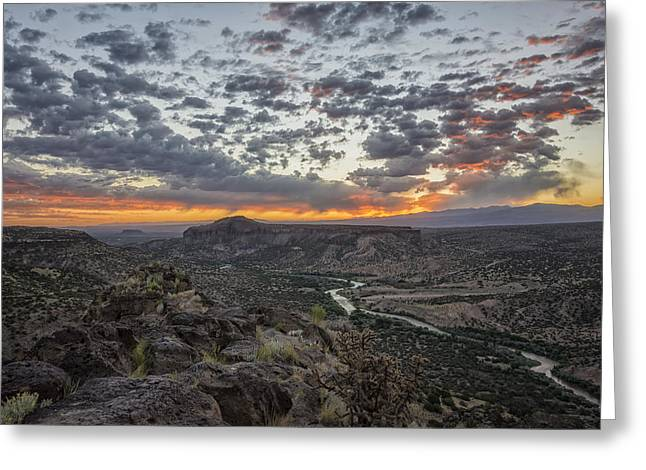 Formations Greeting Cards - Rio Grande River Sunrise 2 - White Rock New Mexico Greeting Card by Brian Harig