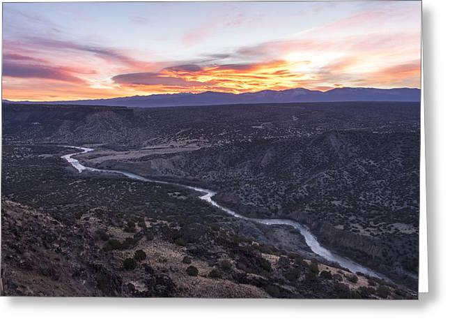 Rio Greeting Cards - Rio Grande River Sunrise - White Rock New Mexico Greeting Card by Brian Harig