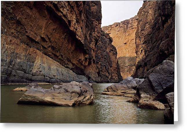 Rio Grande Winding Through Santa Elena Greeting Card by Panoramic Images