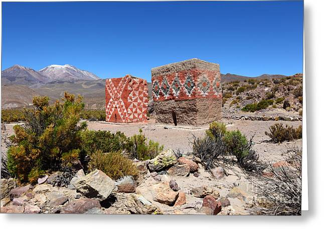 Historic Site Greeting Cards - Rio Lauca Burial Towers Greeting Card by James Brunker