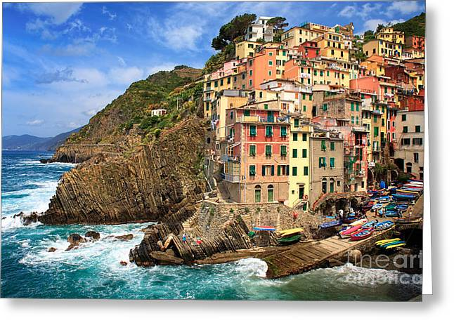 Cramped Greeting Cards - Rio Maggiore Coastline Greeting Card by Inge Johnsson