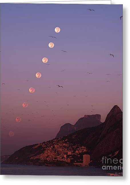 Moon Set Greeting Cards - Rio Moonset Greeting Card by Babak Tafreshi