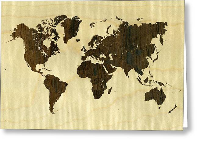 Finer World Greeting Cards - Rio Rosewood and Curly Maple World Map Greeting Card by Hakon Soreide