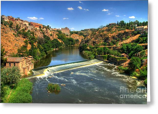 Castile La Mancha Greeting Cards - Rio Tegus through Toledo in Spain Greeting Card by Richard Fairless