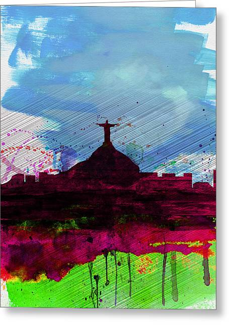 Cristo Greeting Cards - Rio Watercolor Skyline Greeting Card by Naxart Studio