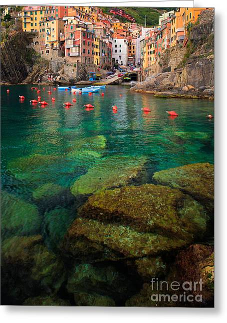 Cramped Greeting Cards - Riomaggiore Bay Greeting Card by Inge Johnsson