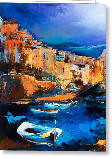 Village By The Sea Greeting Cards - Riomaggiore - Cinque Terre Greeting Card by Elise Palmigiani