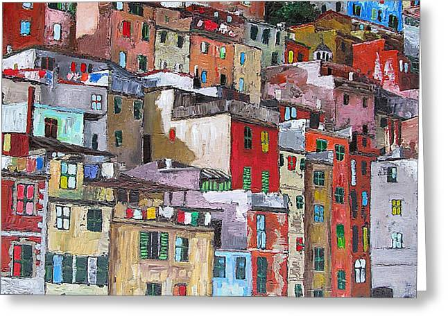 Historical Buildings Mixed Media Greeting Cards - Riomaggiore - Cinque Terre - Italy Greeting Card by Dan Haraga