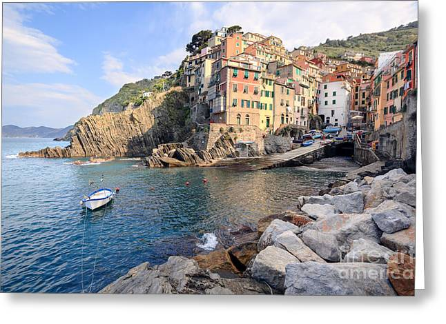 North Italian Town Greeting Cards - Riomaggiore Cinque Terre - Italy Greeting Card by Matteo Colombo