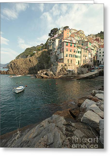 North Italian Town Greeting Cards - Riomaggiore in the Cinque Terre Greeting Card by Matteo Colombo