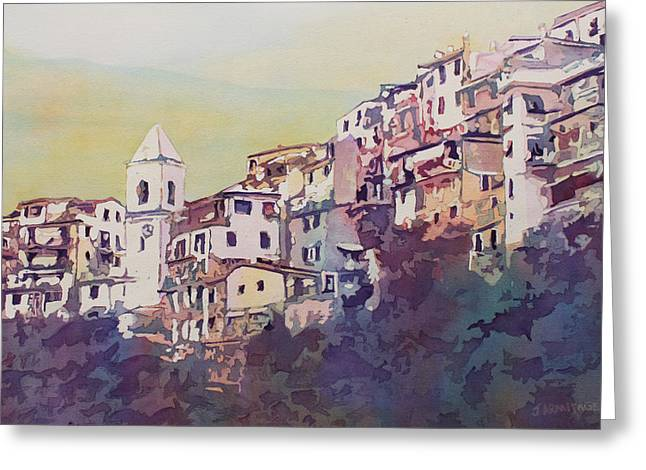 Townhouses Greeting Cards - Riomaggiore Greeting Card by Jenny Armitage