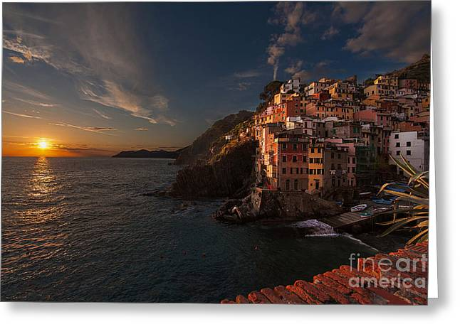 Mike Reid Greeting Cards - Riomaggiore Peaceful Sunset Greeting Card by Mike Reid