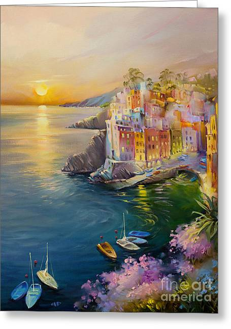 Village By The Sea Greeting Cards - Riomaggiore Greeting Card by Roman Romanov